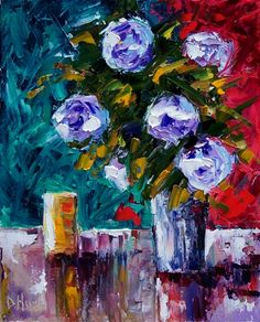 Flowers in Vase still life floral art painting by Debra Hurd, painting by artist Debra Hurd