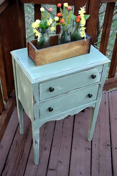 Antique Sewing Cabinet - would make super cute night stand.  Painted in General Finishes Basil with white underlay.  www.facebook.com/sweetthreepeats www.sweetthreepeats.com