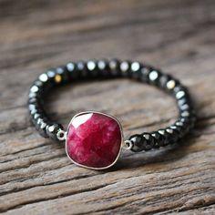 Ruby Hematite Stacking Bracelet / Beaded Bracelet / Red July Birthstone, Crimson Metallic Boho Jewelry, Grey Gemstone Statement Beadwork