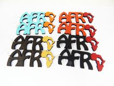 New to TheBlackerTheBerry on Etsy: Africa Earrings Africa Shaped Earrings Colorful Earrings Wood  Painted Africa Jewelry Dangle Earrings Large Cute Earrings Hip Hop Black Red