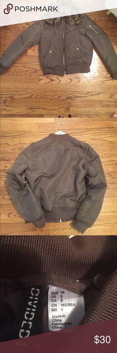 Bomber Jacket Brown Bomber Jacket w/ Gold Zipper & Removable Fur Collar. H&M Jackets & Coats