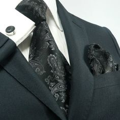 Landisun 541 Black Paisleys Mens Silk Tie Set: Tie+Hanky+Cufflinks Exclusive