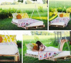 Pallet Swing Bed - Pallet Ideas - 54 DIY Garden Furniture Ideas to Update Your Home Outdoor This Weekend