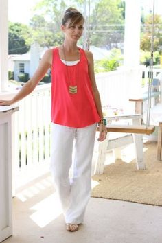 White Linen Pants with bright Top. Love her necklace!