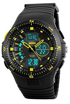 Gosasa Men Sports Digital Watches Dual Time Display Chronograph Waterproof Wristwatches Yellow *** You can get additional details at the image link.Note:It is affiliate link to Amazon.