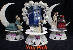 Doctor Who Wedding Cake Topper PICK Genesis Daley, Tardis or Rusty K-9  OR Glasses Knife LOT by YourCakeTopper on Etsy https://www.etsy.com/uk/listing/256759553/doctor-who-wedding-cake-topper-pick