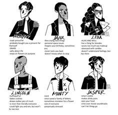 John Murphy, Thelonius Jaha, Commander Lexa, Lincoln, Monty Green, and Jasper Jordan