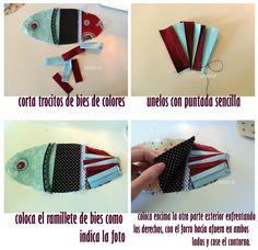 Little fishes: Storage Bag, tuto and free pattern. Pescaditos guarda- medias II: Tutorial