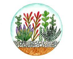 Esta es una original acuarela pintura inspirada por suculentos terrarios y jardines de cactus.    Título: Ronda pinturas 76    -Esto es un pintado a