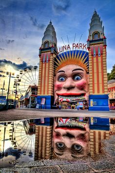 "I had no idea that the Luna Park in Coney Island had clones in other parts of the world just as early! This one in Melbourne opened in 1911 and has run ever since. ""'Mirrored Amusement' Entrance Sign to Luna Park: Sydney, Australia / photo by Surrealize Brisbane, Melbourne Australia, Perth, Iconic Australia, Queensland Australia, Luna Park Sydney, Parks In Sydney, Sydney City, Australia Photos"