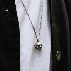 Our Small Anatomical Skull Pendant handmade from British Hallmarked .925 Sterling Silver. #handmadejewelery #madeinlondon #skullpendant