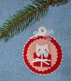 Merry Christmas Kitten Felt Christmas Ornament. $18.00, via Etsy.