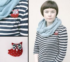 red owl pin  owl pin brooch  felt gift by moloco on Etsy, $10.00