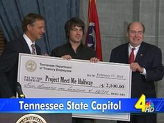 Tennessee State Treasury Presents Jimmy Wayne With A Check For Meet Me Halfway