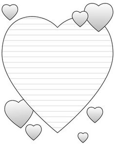 Heart-Shaped Writing And Doodling Paper For Valentine's Day - FREE! by Eleonora Printable Lined Paper, Stationary Printable, Free Printable, Journal Paper, Journal Cards, Valentine Day Cards, Valentines, Coloring Books, Coloring Pages