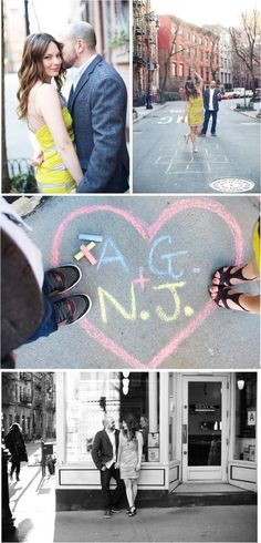 Love the sidwalk chalk photo - great prop for engagement photo shoot.