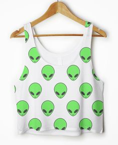 Alien Head Pattern BOXY Crop Top Tank Vest Womens Girls