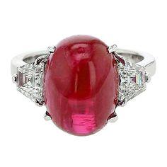 Burma No Heat Ruby Diamond Platinum Three-Stone Ring 1