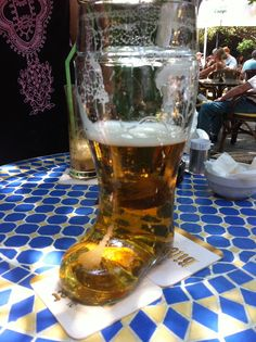 Love Greece, in Rhodes the beer comes in a boot glass.