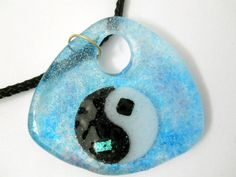 New Ying Yang Glass Pendant Necklace Black White by glassconfusion