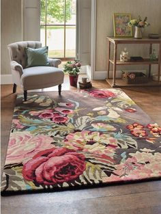 Shop for Rugs at Style Library: Stapleton Park (Colour: Rosewood) by Sanderson. Stapleton Park is an inspiring floral rug that encapsulates the intrinsic values. Rugs In Living Room, Living Room Decor, Bedroom Decor, Bedroom Rugs, Living Room Carpet, Living Room Grey, Floral Area Rugs, Floral Rug, Floral Design