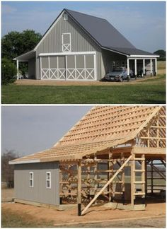 A Maryland pole-frame car barn - from the inexpensive Walnut Coach House plan set by architect Don Berg