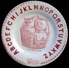 EARLY CHILDS ALPHABET ABC PLATE IN A SOFT PLACEStaffordshire England  ~  c. 1880This 7 1/8  plate has a crisp image transfer printed in rich cherry