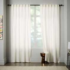 """Cotton Canvas Stamped Dots Curtain- 84""""l x 48""""w. 