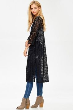 Womens Black Lace Long Duster Cardigan on $39 MomMeAndMore.com – MomMe and More