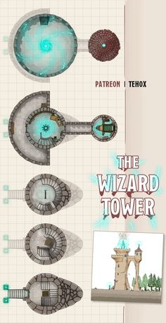 The Wizard Tower (a 5 levels tower map) Dnd Wizard, Pathfinder Maps, Isometric Map, Fantasy World Map, Building Map, Rpg Map, Tabletop Rpg, Tabletop Games, Fantasy Battle
