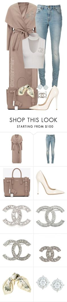 """""""perfect alibi."""" by loreanmilan ❤ liked on Polyvore featuring Yves Saint Laurent, Jimmy Choo, Chanel, Hermès and Mémoire"""