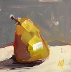 Pear no. 24 original still life fruit oil painting by Angela Moulton 6 x 6 inches on panel prattcreekart