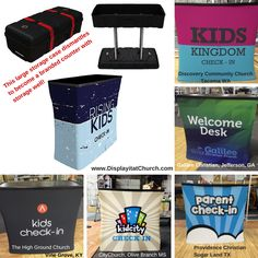 All of these lightweight portable counters were made from a hard-shell storage case on wheels! Church Nursery Decor, Kids Church Decor, Kids Church Rooms, Church Ideas, Church Decorations, Kids Room, Church Lobby, Church Foyer, Church Stage