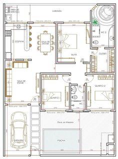 Projeto de casa térrea de 3 quartos com 114.57m²