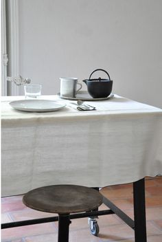 Pure linen sheet in white for curtain, throw or tablecloth at www.cachette.com