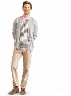 stripes and grey cardigan!