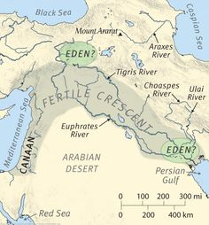 Genesis describes the Garden of Eden in relation to the convergence of four rivers. While two of the rivers are unknown (the Pishon and Gish. Israel History, Jewish History, Ancient History, Imagenes Dark, Bible Mapping, Religion, Ancient Mesopotamia, Bible Knowledge, Garden Of Eden