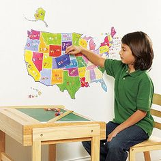 Wall Pops WPE Kids USA Dry Erase Map Decal Wall Deca - Us wall map for kids