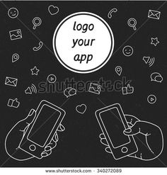 Demonstration display of a mobile phone. A set of line icons of hand with smartphones. Internet technologies in the smartphone. Vector flat illustration of cloud service and technology.