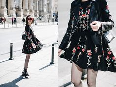 fadccfee21fc3 Andreea B. - How to wear a floral embroidered dress with fishnet tights