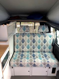 Custom design your own Achtung Camper with any colours and patterns you want! We love this super stylish blue and grey rock and roll bed and shelf about the bed. Class A Motorhomes, Motorhomes For Sale, Truck Camper, Camper Van, Vw Campervans For Sale, Van Conversion Campervan, Vw Conversions, Rock And Roll Bed, Towing Vehicle