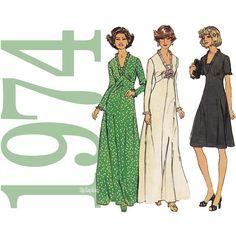 1970s Maxi Dress Pattern - Misses V Neck Dress Pattern - Womens Dress Sewing Pattern - 38 Bust - Simplicity 6667