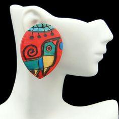 Mid Century Large Chunky Painted Birds Vintage Wood Post Earrings Bold #MyClassicJewelry