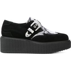 McQ Alexander McQueen snake detail creepers (29.815 RUB) ❤ liked on Polyvore featuring shoes, black, black goth shoes, black shoes, goth platform shoes, kohl shoes and almond toe shoes