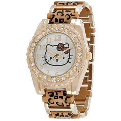 Rainbow Crystal-Accent Watch ($40) ❤ liked on Polyvore featuring jewelry, watches, bracelets, hello kitty, animal print, colorful watches, leopard watches, clear watches, plastic jewelry and leopard print watches