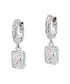Diamonique & Sterling Silver Drop Earrings