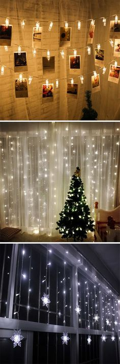 larger white lights behind curtain Noel Christmas, Christmas 2017, Christmas Projects, Winter Christmas, All Things Christmas, Christmas Lights, Seasonal Decor, Holiday Decor, Christmas Decorations For Bedroom
