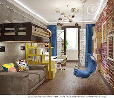 Дизайн интерьера детской в стиле лофт - http://www.ok-interiordesign.ru/ph_dizain-detskoy-komnaty.php