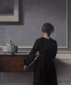 Interior with Young Woman from Behind - Vilhelm Hammershoi