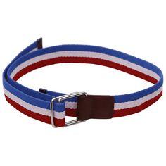 Get a Sporty and Casual Look with Stylehoops Blue & Red Striped Canvas Belt. #canvasbelt #sportybelt #stripebelt #doubleloopbucklebelt #belts